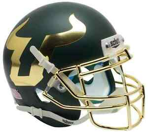 SOUTH-FLORIDA-BULLS-NCAA-Schutt-Authentic-MINI-Football-Helmet-USF-MATTE-GREEN