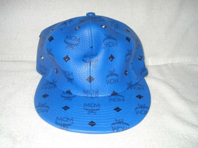 42def8e08d7 100% AUTHENTIC NEW MCM BLUE LEATHER VISETOS BASEBALL CAP HAT SZ S