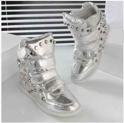 Womens Bling  Rivet Leather Sneakers Shoes Winter Waterproof Wedge Boots