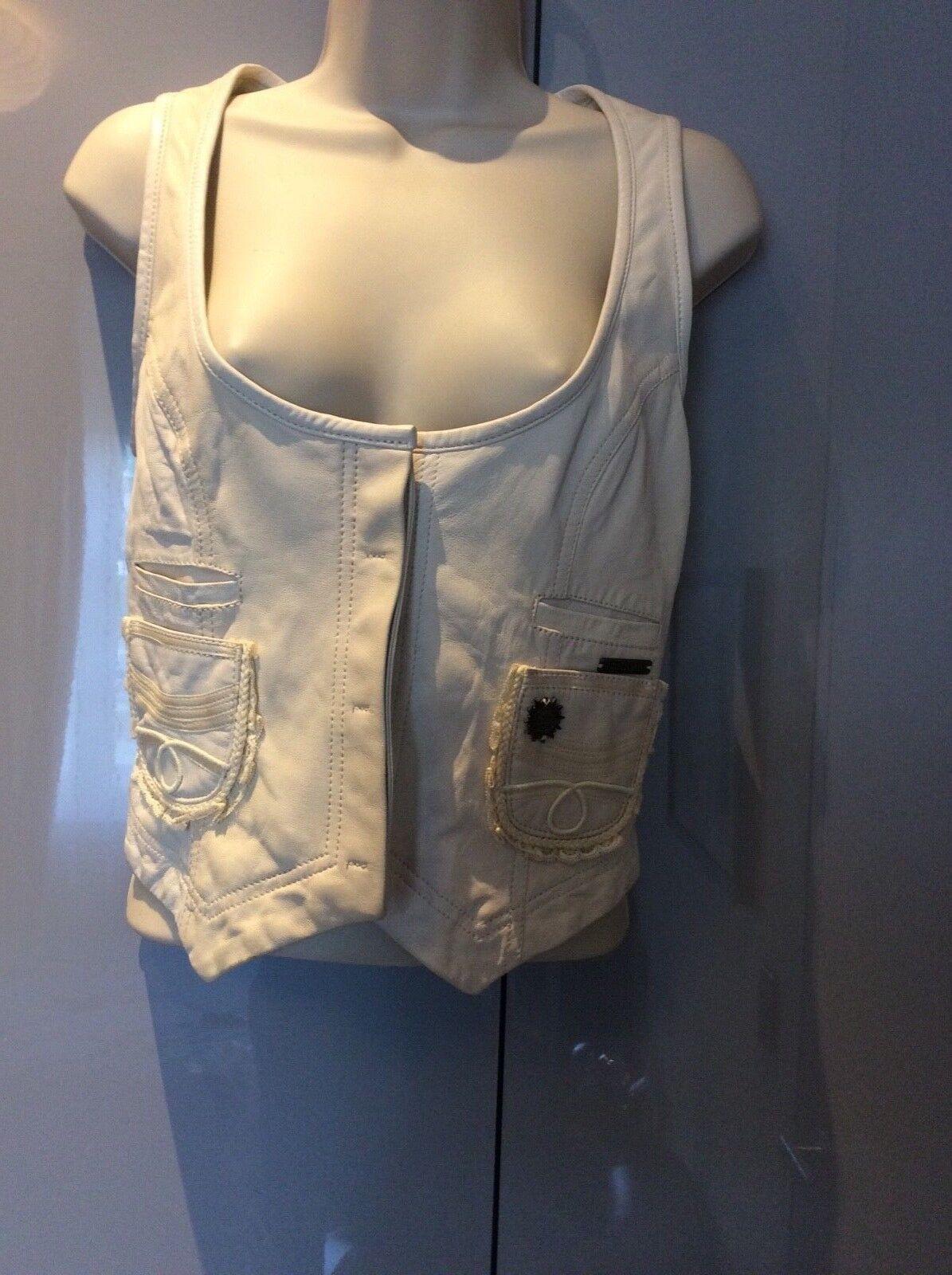 Women's white leather  Galliano gilet size 28 42