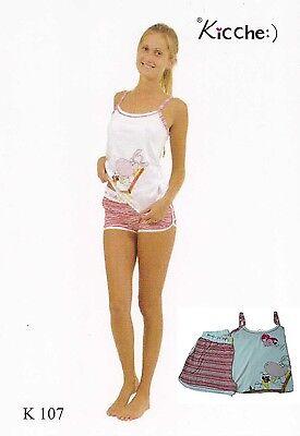 Coscienzioso Pigiama Donna. Kicche Young, K 107. Spalla Stretta, Pantalone Corto. Cotone.
