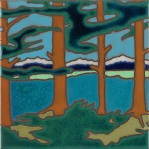 Ceramic Tile Mountain Lake Trees Hot Plate Wall Decor