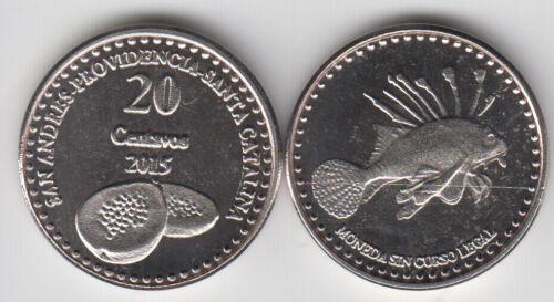 unusual COLOMBIA PROVIDENCIA SAN ANDRES 20 Centavos 2015 fish STA CATALINA
