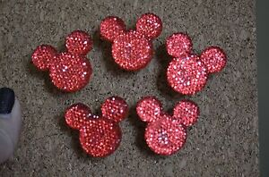 Set of 5 blingy RED MOUSE bulletin board pushpins / thumbtacks, or magnets.