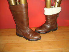 SUPERB CARVELA BROWN LEATHER  GRANNY FAUX FUR LINNED BOOTS EU 36 *13*