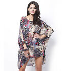 Women Chiffon Bat Shirt Summer Casual Party Short Beach Dress Tops Plus Size New
