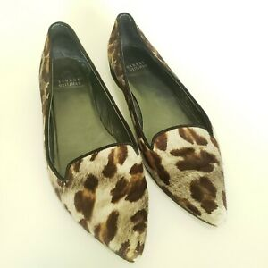 Stuart-Weitzman-Womens-Shoes-Slip-On-Flats-Animal-Leopard-Print-Ponyhair-US-7-5