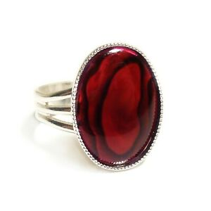 Red-Abalone-Shell-Paua-Ring-Gemstone-Adjustable-18-x-13-mm-Silver-Plated-Oval
