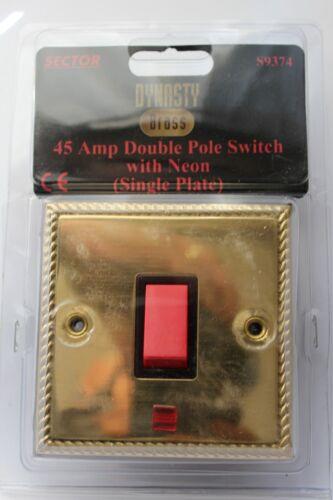 Secteur 1G die cast géorgien corde bord laiton 45A dp rouge interrupteur neon noir insert