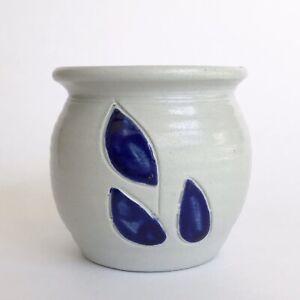 Williamsburg Pottery Small Crock Jar Cobalt Blue Leaves Salt Glazed Stoneware