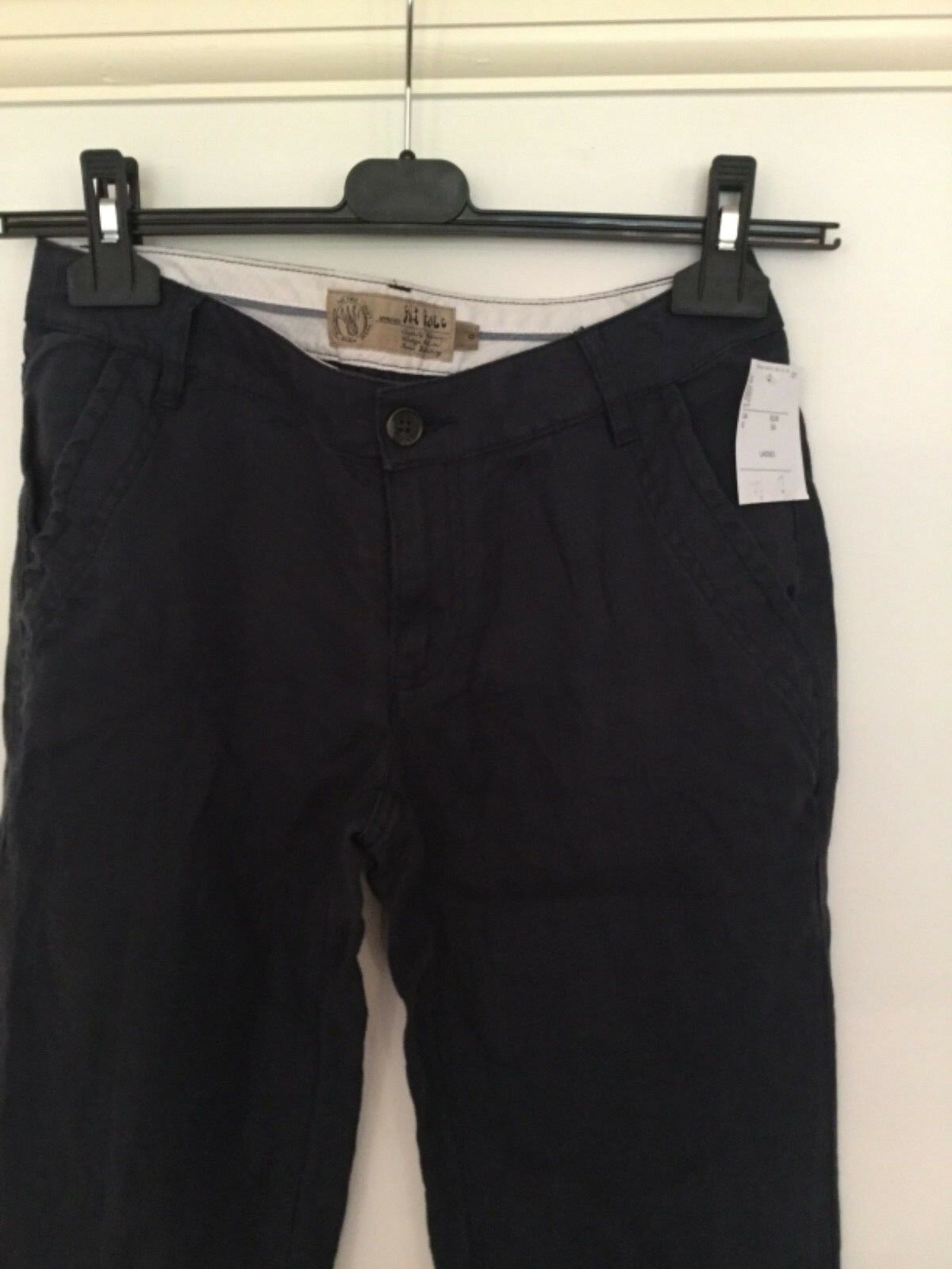 FAT FACE BNWTs, Girls Ladies Linen Trousers, Size 8, Navy bluee
