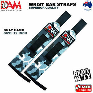 DAM GREY CAMO WEIGHT LIFTING GYM TRAINING WRIST SUPPORT BAR STRAPS WRAPS 18 Inch