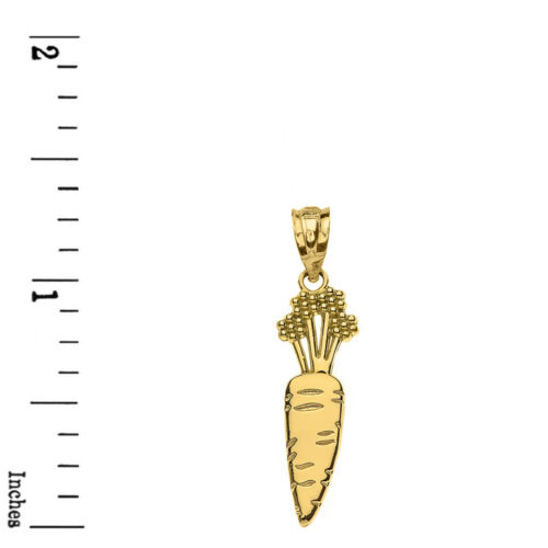 Solid 10k Yellow Gold Detailed Carrot Vegetable Pendant Necklace