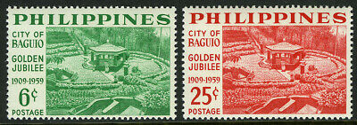 Philippines 804-805,mnh.city Of Baguio,50th Ann.camp John Hay Amphitheater,1959 Topical Stamps Architecture