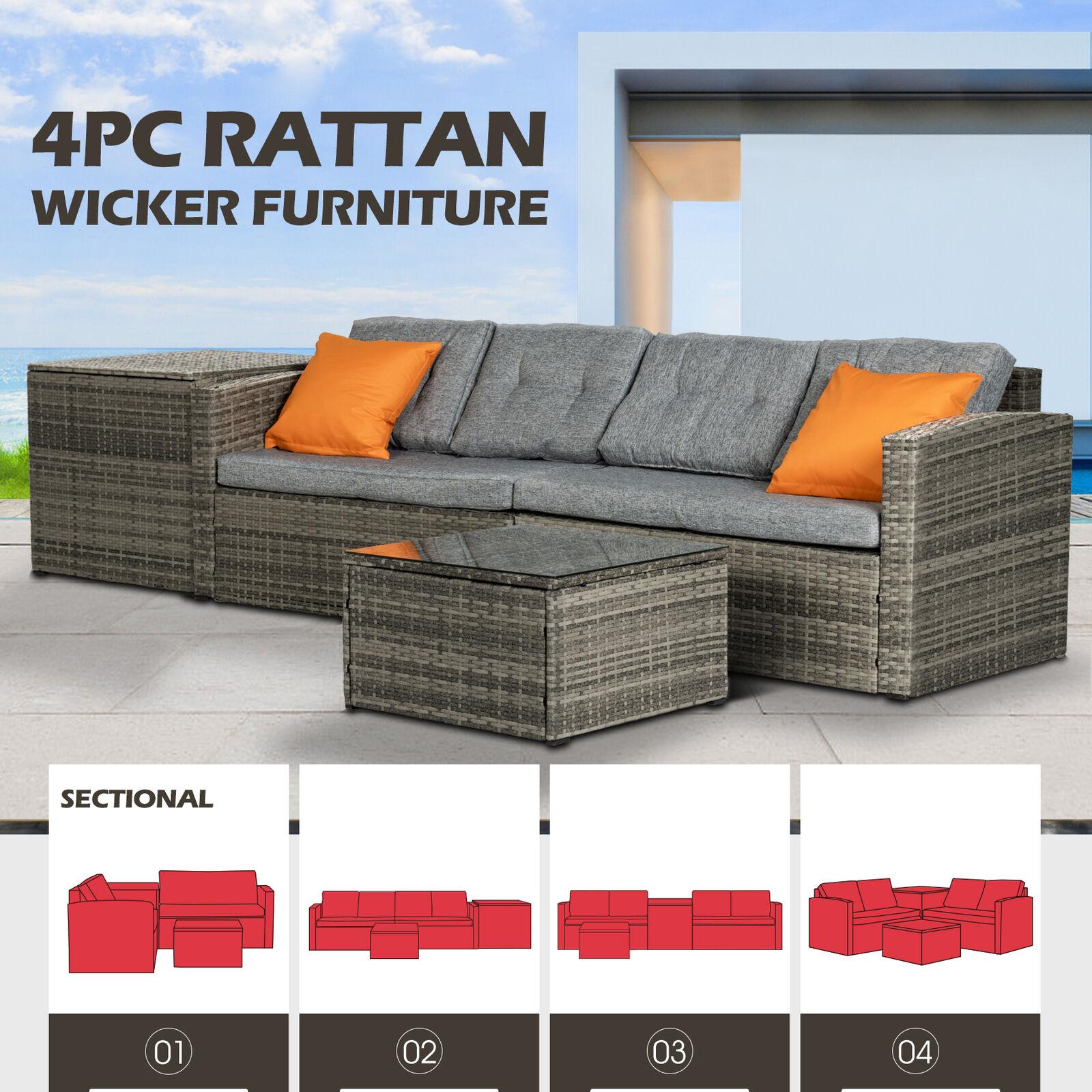 Rattan Wicker Sofa Set Storage Box