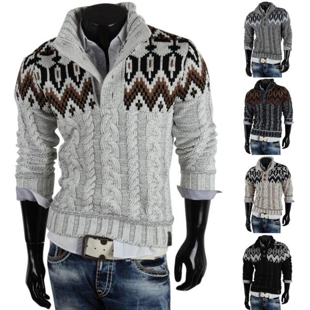 R-NEAL Herren Pullover 85260 Grobstrick Winter Sweatshirt Strickjacke Jacke Neu