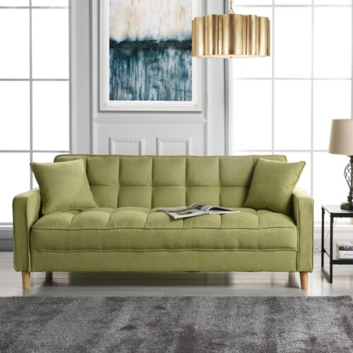 Modern Linen Fabric Tufted Small Space Living Room Sofa Couch Green