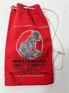 Vintage Bank Deposit Money Bag Middleborough Trust Company Middleboro, Mass. Red