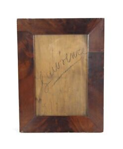Antique Victorian 19th C Mahogany Veneer Empire Ogee Picture Frame Fits 11 x 7.5