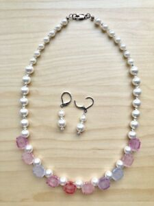 Lovely-Rose-Petal-Crystal-Pearl-Necklace-Earring-202-Canada-Seller