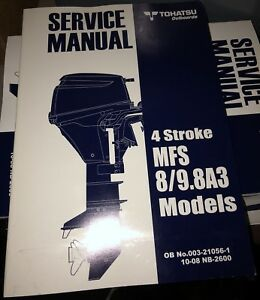 8hp 9 8hp 4 stroke tohatsu outboard workshop service manual mfs8a3 rh ebay co uk Tractor Service Manuals Chilton Manuals