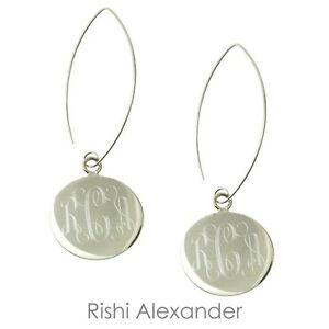Image Is Loading 925 Sterling Silver Round Monogram Personalized Dangle Earrings