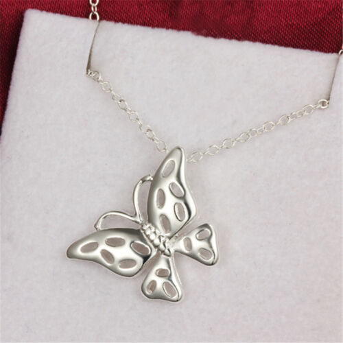 New Hollow Butterfly Necklace Plated Sterling Pendant Silver Jewelry Women Gift