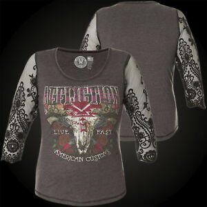 Affliction Rustler Grigio nero Woman Sweater r8qEwRrv