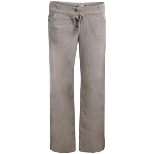 Womens Wide Leg Linen Trousers ButtonFly Fastening In White /& Stone Sizes 8-16