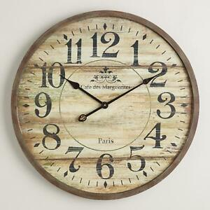 Large Round Wood Wall Clock Farmhouse Rustic Classic French