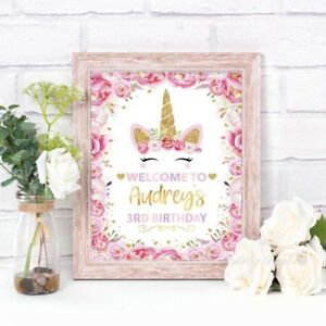 UNICORN-PARTY-WELCOME-SIGN-PARTY-SUPPLIES-PERSONALISED-DECORATION-PRINT-GOLD