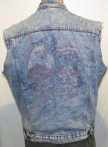 dc11802b vtg Harley Davidson BLUE JEAN VEST MED Eagle USA Flag Print 80s/90s ...