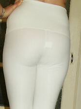 SALE WHITE/ECRU STRETCHY RUBBER FEEL HIGH WAIST LEGGINGS sizes 8 to 22