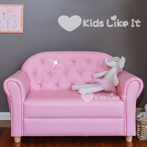 GIRLS Wooden Bling CRYSTAL PINK PRINCESS Double SEAT SOFA CHAIR Kids LOUNGE NEW