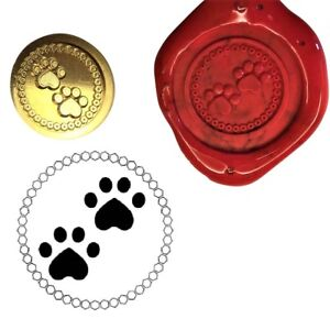 Dog Cat Pets 2 Paw Prints Wax Stamp Seal Kit or Buy Coin Only.  XWS039B/XWSC365
