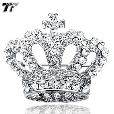 BH01 Quality TT 18K White Gold Plated Crown Brooch Silver Colour with Clear CZ