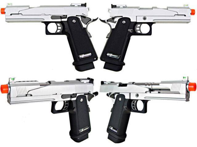 WE Tech 5 1 V5 Chrome Tactical 1911 2011 Hi-Capa Airsoft Gas Blowback  Pistol GBB