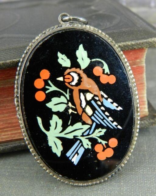 Vintage Oval Enamel Bird Pendant in Sterling Silver