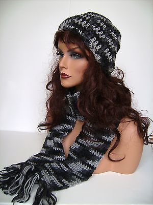 beret BEANIE Crochet Rasta Knit Hat Cap ber-Dark Gray
