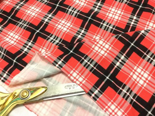 *NEW*Stretch Viscose Jersey Black-Red Checked Tartan Dress//Craft Fabric*FREE P/&P