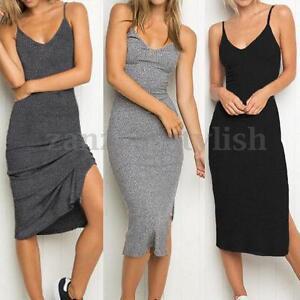 Womens-Summer-Slip-Casual-V-Neck-Stretch-Knit-Sleeveless-Bodycon-Midi-Slim-Dress