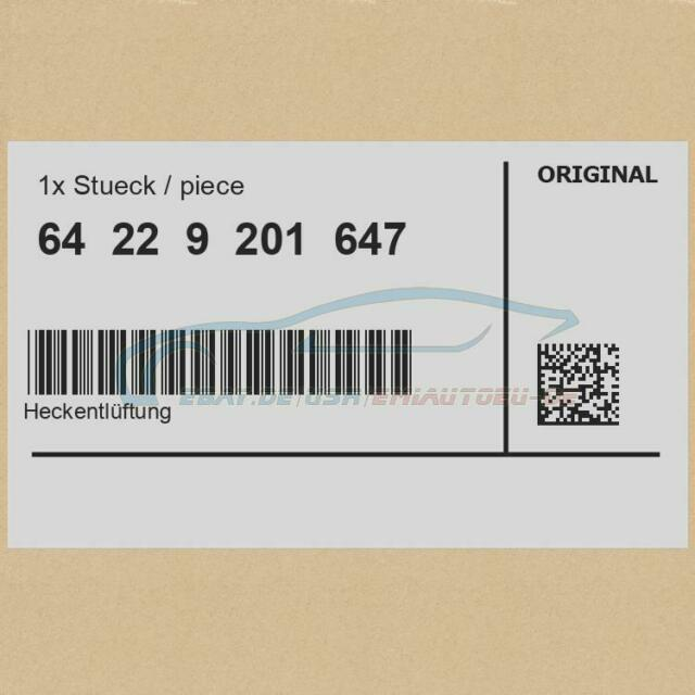 Original BMW 64229201647 - [SUPER PREIS] Heckentlüftung 1er 2er