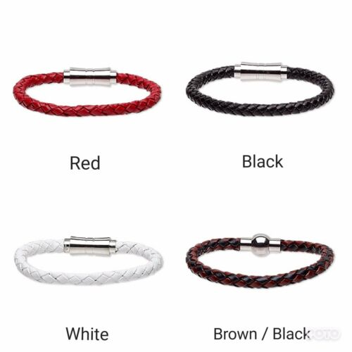 Bracelet leather bola cord 6mm with stainless steel magnetic clasp size 6.5 inch