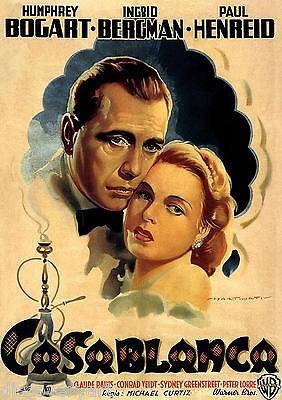 Casablanca Humphrey Bogart Ingrid Bergman Canvas Wall Art Movie Poster Print