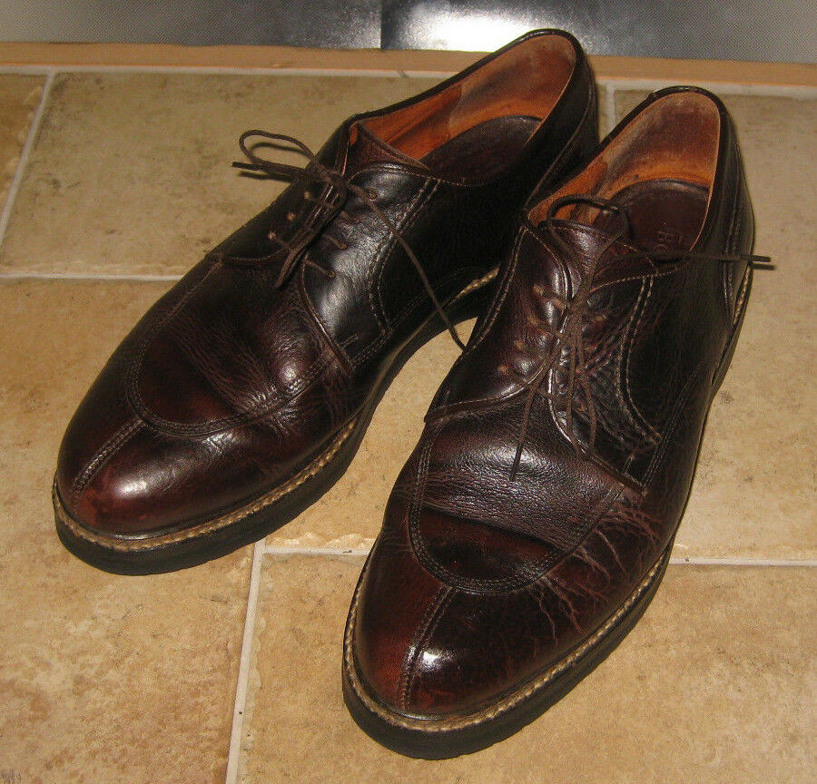 BOSTONIAN Vintage Distressed Brown Pelle Shoes Sz 11 Made in ITALY Vibram Sole