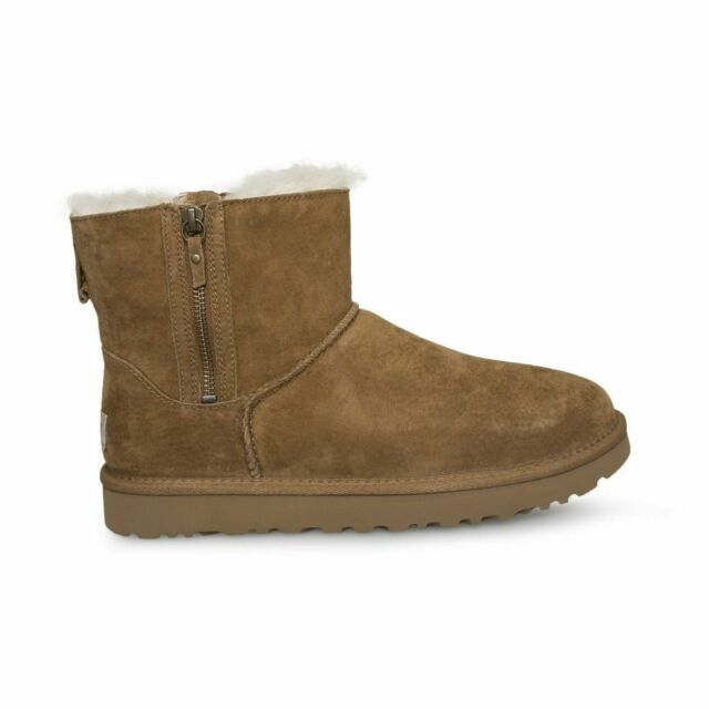 5b23fb882a0 UGG Australia Classic Mini Double Zip Chestnut Suede Sheepskin Boot 1018849  Sz 7