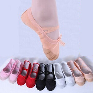 NEW CANVAS BALLET DANCE SHOES SLIPPERS Toddler-Adult Black/Red/Pink/White/Beige