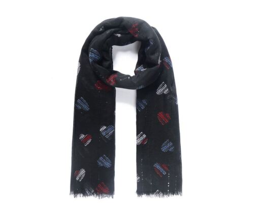 LADIES BEAUTIFUL BLACK  ABSTRACT HEART PRINT  LARGE SCARF WITH SEQUINS NEW IN