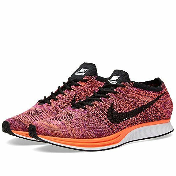 Nike Flyknit Racer shoes,Men's, Black Hyper orange Vivid Purple, 26628008