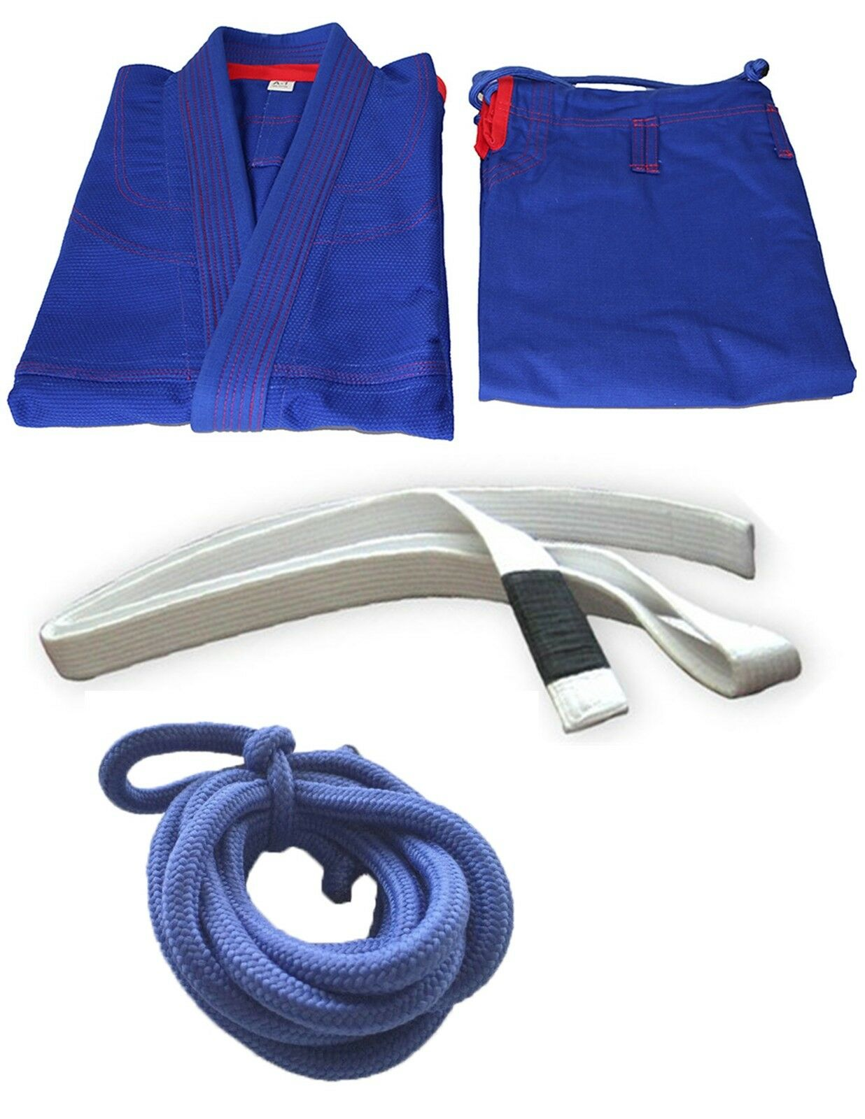 Brazilian Jiu Jitsu Gi Mens - blueE RED 100% Cotton Preshrunk,Free Ship Belt Rope